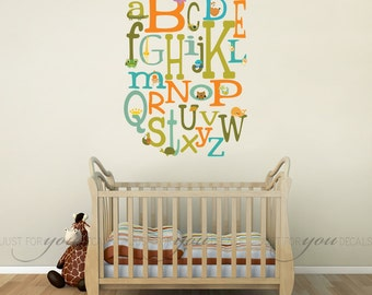 Alphabet Wall Decal - Nursery Wall Decals - Animal Wall Decal - Playroom Wall Decal - Play Room Wall Decal - Retro Custom Wall Decal 01-0024