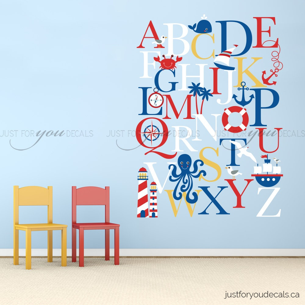 Alphabet wall decal alphabet decal nautical nursery wall for Alphabet wall mural