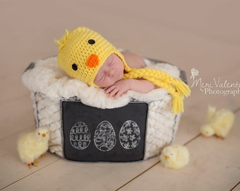 Crochet newborn baby chick earflap hat - Custom made to order