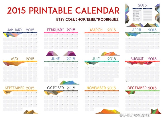 Rest Of Year Calendar : Printable geometric calendar rest of the by