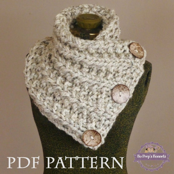 Infinity Scarf With Buttons Knitting Pattern : Knitting Pattern THE LANCASTER SCARF Chunky Button ...