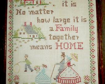 Sampler - Cross Stitch Embroidery Sampler - Vintage