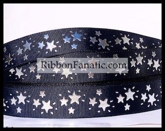 """5 yds 7/8"""" Silver Foil Stars on  Navy Blue Grosgrain Ribbon"""