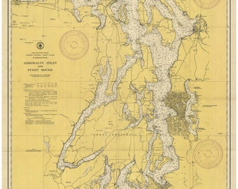 Puget Sound  1946  Nautical Map - Washington - PC Big Area 6401 - Reprint