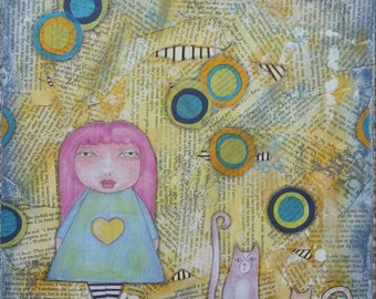 Whimsical deco girl and cats mixed media
