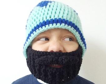 Kids Crocheted Beard Mask Toddler Beard - The Woodsman - in Black