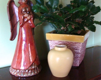 Vintage Pottery Small Vase Yellow Marked Nanel Ginger Jar shape