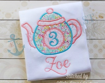 TEAPOT NUMBERS machine embroidery design