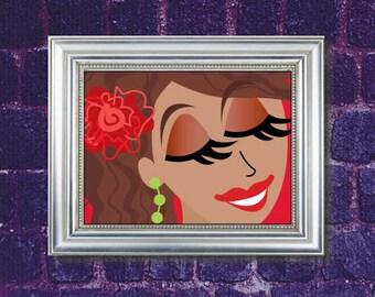 "Margarita Girl Illustration 8x10"" Wall Art Print"