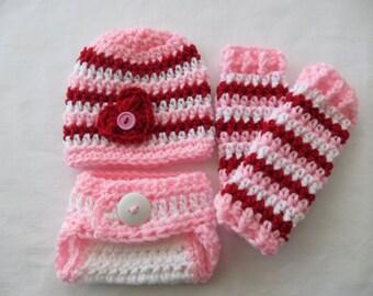 Baby Girl VALENTINE'S DAY Set, Hat, Leg Warmers, Diaper Cover, Crochet Photo Props, Shower gift, valentine's day props, baby girl