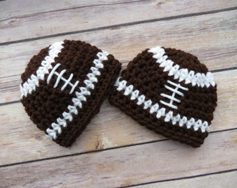 For the TWINS/QUADS * Football Beanies * Photo Props * Baby Shower Gift * Sizes Preemie, Newborn, O-3 months