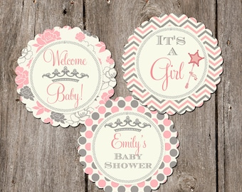Pink and Grey Floral Baby Shower Cupcake Toppers- Printable