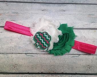 Pink and Green Clover Headband