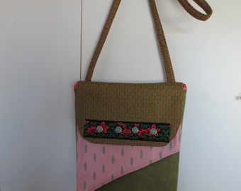 Double flap hip purse-pink/rose/green