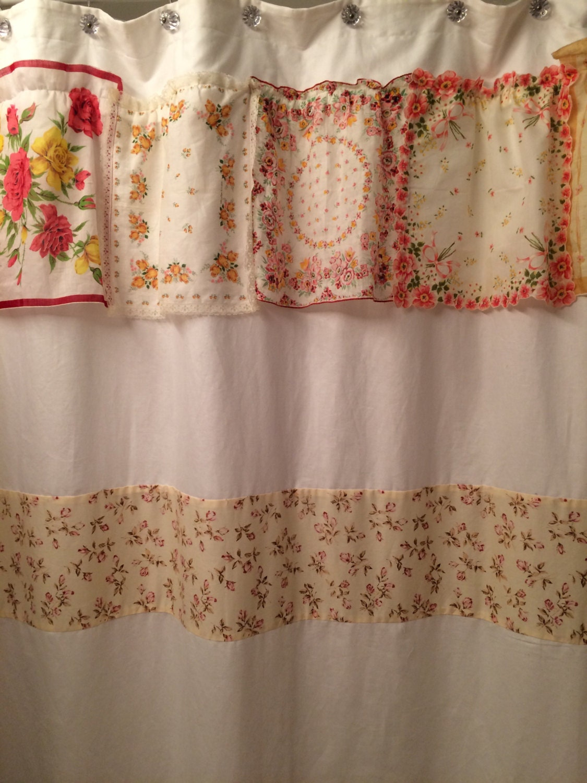 Brides new bath hankie shower curtain vintage pink cream for Pink and cream bathroom