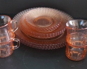 Vintage, Set of Fortecrisa Pink Glass Dishes