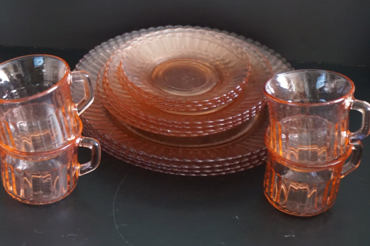 Vintage Set Of Fortecrisa Pink Glass Dishes