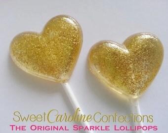 Christmas Lollipops, Gold Wedding Favors, Heart Lollipops, Gold Favors, Gold Wedding Favor, Lollipops, Sweet Caroline Confections-Set of Six