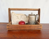 Vintage Wooden Carrier,  Wooden Berry Basket, Handmade Wood Tote, Hand Made Wood Carryall, Fall Decor
