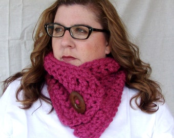 READY TO SHIP: Chunky Crochet Short Cowl Scarf with Big Wood Button - Lambs Wool Blend scarf in Bright Pink