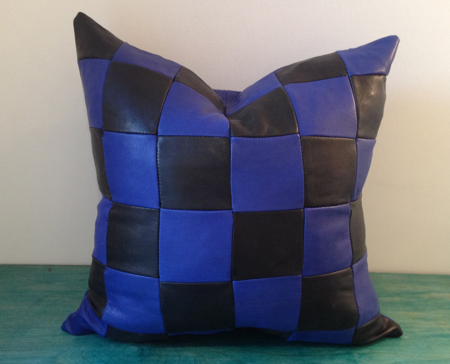 blue and black leather sofa pillow cover