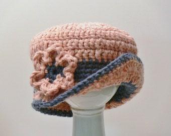 Crochet Pattern - Flapper Hat - Girls Hat with Brim - Cloche - Flower, Easy, Chunky, Sizes Baby, Toddler, Girls, Teen, Ladies, Ladies L #121