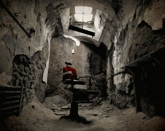 Abandoned Barber Shop - Barbers Chair - Eastern State Penitentiary Philadelphia - Architecture - Creepy - Crumbling  - Historic - Wall Decor