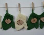 Handmade Advent Calendar, 24 Hand knitted Mittens, 24 Wood Burned Numberdiscs, Complete Set