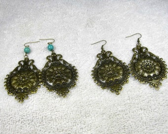 Earrings/ bronze/light weight/turquoise/filigree/ cheap/affordable/. .