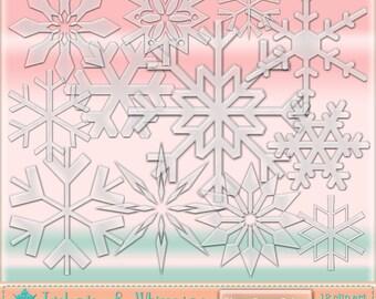 Glass Snowflakes Digital Scrapbook Clip Art - Instant Download