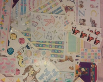 Baby Girl 57 piece Stickers, Paper and Die Cuts Set 0196