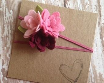 Wool Felt Flower Trio Headband, Pink Flower, Newborn, Baby Headband
