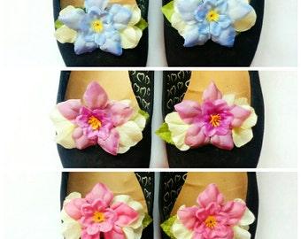 Pastel Floral Shoe Clips - pin up, rockabilly, vintage