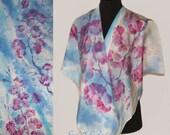 """Silk scarf  """"  sakura"""" batic,  silk painting"""