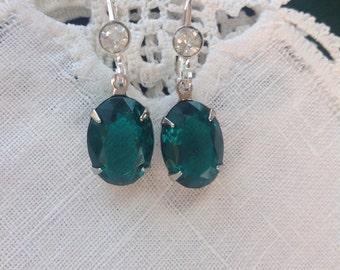 Emerald Green Rhinestone Earrings, Silver Tone with Clear Rhinestones, .39 X .55 in, 10 X 14 mm