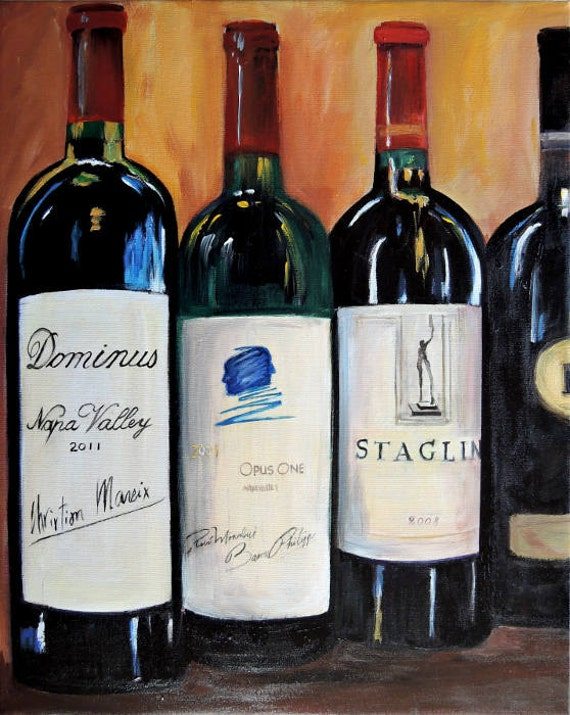 Items similar to wine bottle painting opus one dominus for Painting of a wine bottle