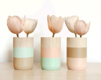 Wooden Vases - Set of 3 - for flowers and more - Home Decor -  aquamarine