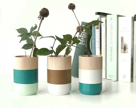 Set of 3 Painted Wooden Vases Home Decor green
