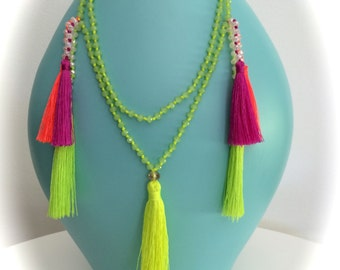 Multi Colour crystal bead Necklace w Neon Yellow tassel >small multi colour tassel>new exciting style>>Boho>summer>fun>beach>cool>gift>