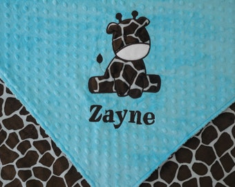 Personalized Baby Blanket, Turquoise Giraffe Baby Blanket, Custom Blanket, Minky Baby Blanket, Made to Order