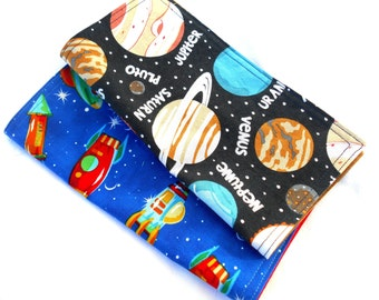 "Rockets in Space Double Sided Lunch Cloth Napkins -Set of Gray White Black 8.5x8.5"" Napkins"