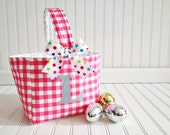 Personalized gingham Basket-baby basket, diaper caddy  Children's Gingham Easter Basket- Easter Tote, Easter Bucket