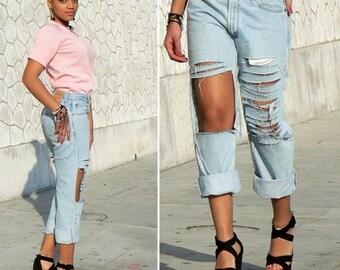 Jean destroy high waist, ripped jeans high waist, jean swag high waist, jean holes boyfriend jeans wide destroy, customized, jean