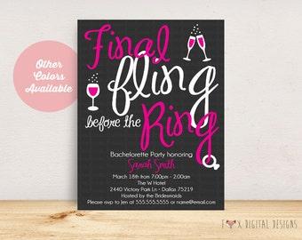 Fling Before the Ring Bachelorette Party Invite - Custom - Printable