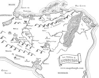 Fantasy map of Honduras