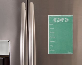 Dry erase weekly menu, meal planner, fridge menu, kitchen menu board, faux chalkboard menu