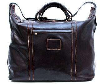 Leather dufflebag genuine leather shoulder bag weekender brown dark brown mens ladies travel bag gym bag luggage sport bag made in Italy