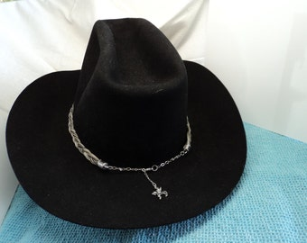 Handmade Horsehair Unique Custom Hat Band Adjustable Size with Antiqued Silver Toned Winged Horse