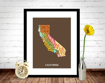 CALIFORNIA STATE Poster, Home Decor, Wall Art