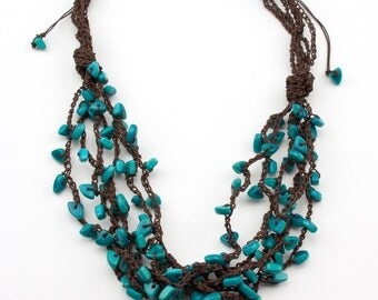 Knoted Crochet Adjustable Turquoise Tagua Necklace